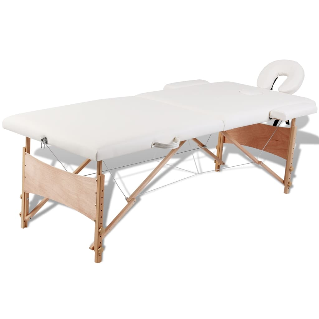 vidaXL Cream White Foldable Massage Table 2 Zones with Wooden Frame