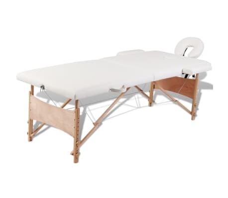 Κρεβάτι μασάζ Πτυσσόμενο 2 θέσεων με ξύλινο σκελετό Κρεμ[1/8]