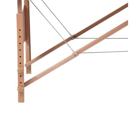 Κρεβάτι μασάζ Πτυσσόμενο 2 θέσεων με ξύλινο σκελετό Κρεμ[4/8]