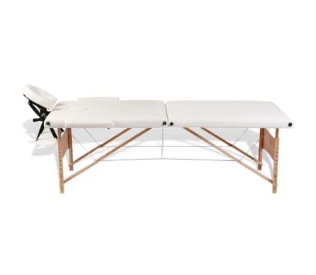 Κρεβάτι μασάζ Πτυσσόμενο 2 θέσεων με ξύλινο σκελετό Κρεμ[5/8]