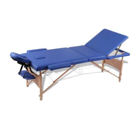 vidaXL Table pliable de massage Bleu 3 zones avec cadre en bois[1/8]