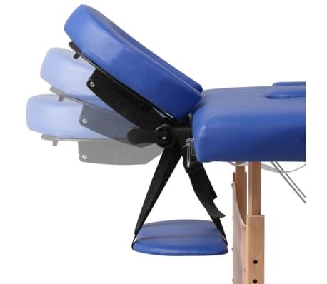 vidaXL Table pliable de massage Bleu 3 zones avec cadre en bois[8/8]