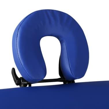 vidaXL Table pliable de massage Bleu 3 zones avec cadre en bois[3/8]