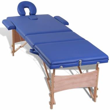 vidaXL Table pliable de massage Bleu 3 zones avec cadre en bois[7/8]