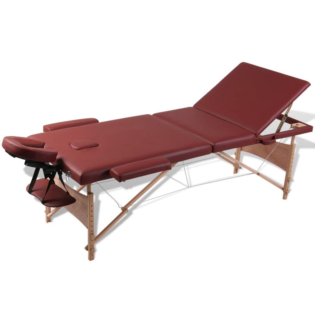 Masă de masaj pliabilă 3 părți cu cadru din lemn Roșu vidaxl.ro