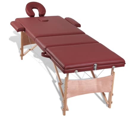 Red Foldable Massage Table 3 Zones with Wooden Frame[7/8]