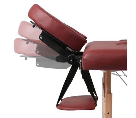 Red Foldable Massage Table 3 Zones with Wooden Frame[8/8]