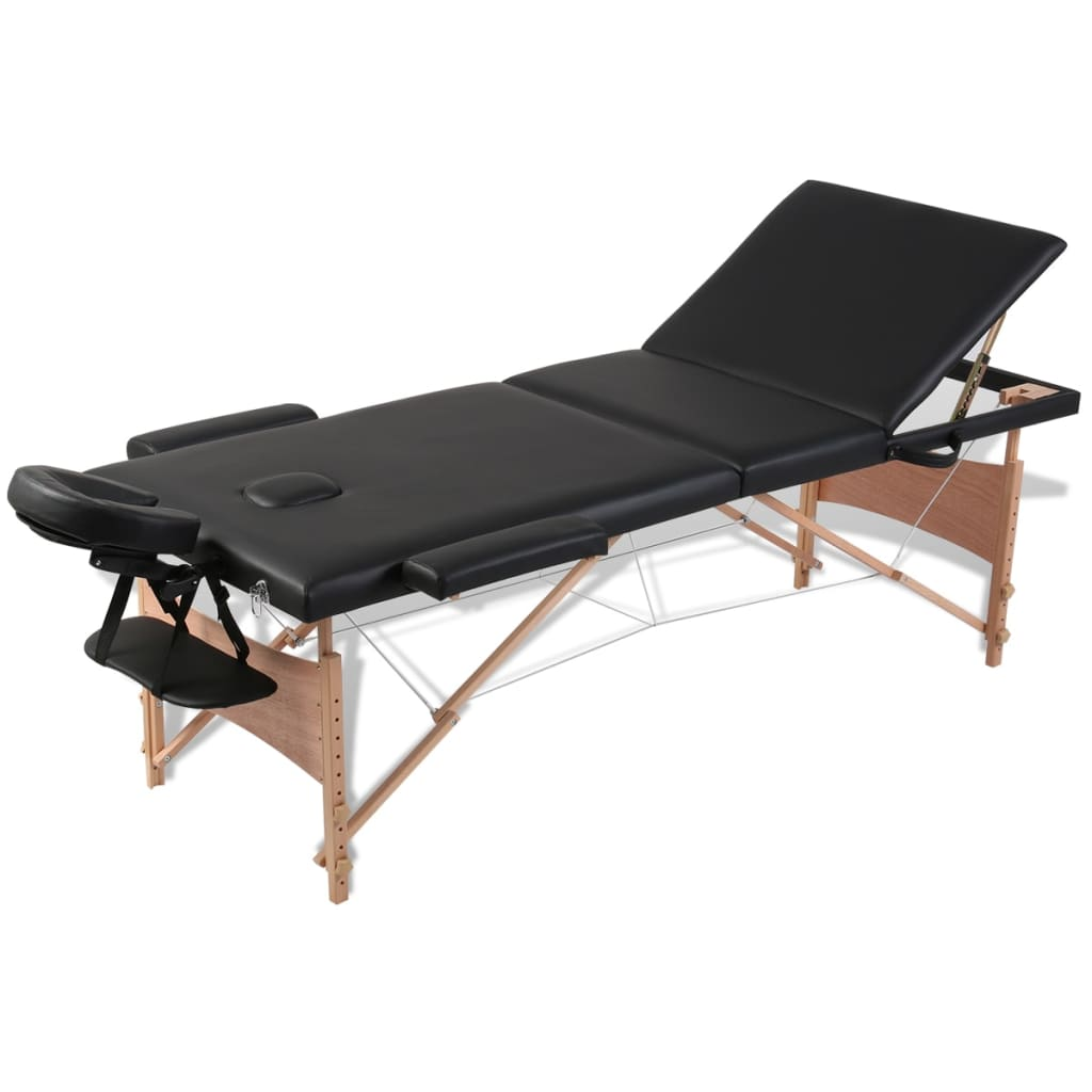 vidaXL Black Foldable Massage Table 3 Zones with Wooden Frame
