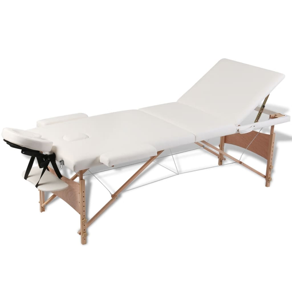 vidaXL Cream White Foldable Massage Table 3 Zones with Wooden Frame