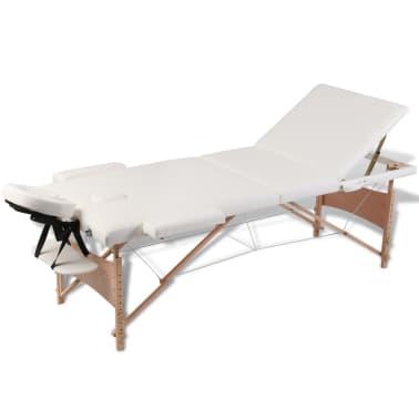 Table de Massage Pliante 3 Zones Crème Cadre en Bois[1/8]