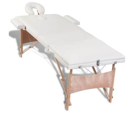 Table de Massage Pliante 3 Zones Crème Cadre en Bois[5/8]