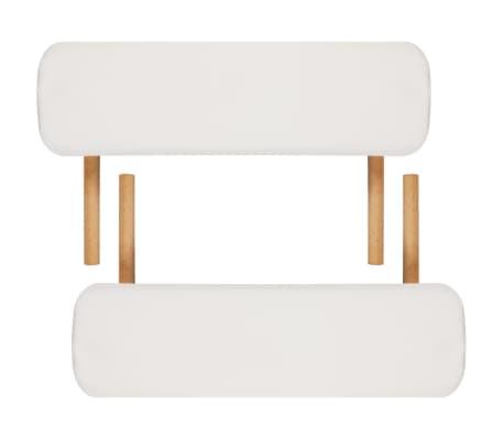 Table de Massage Pliante 3 Zones Crème Cadre en Bois[7/8]