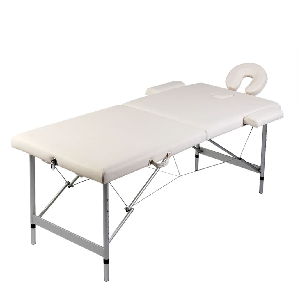 vidaXL Cream White Foldable Massage Table 2 Zones with Aluminium Frame