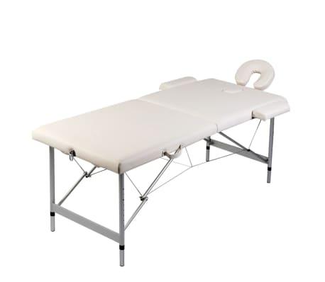 Table de Massage Pliante 2 Zones Crème Cadre en Aluminium[1/6]