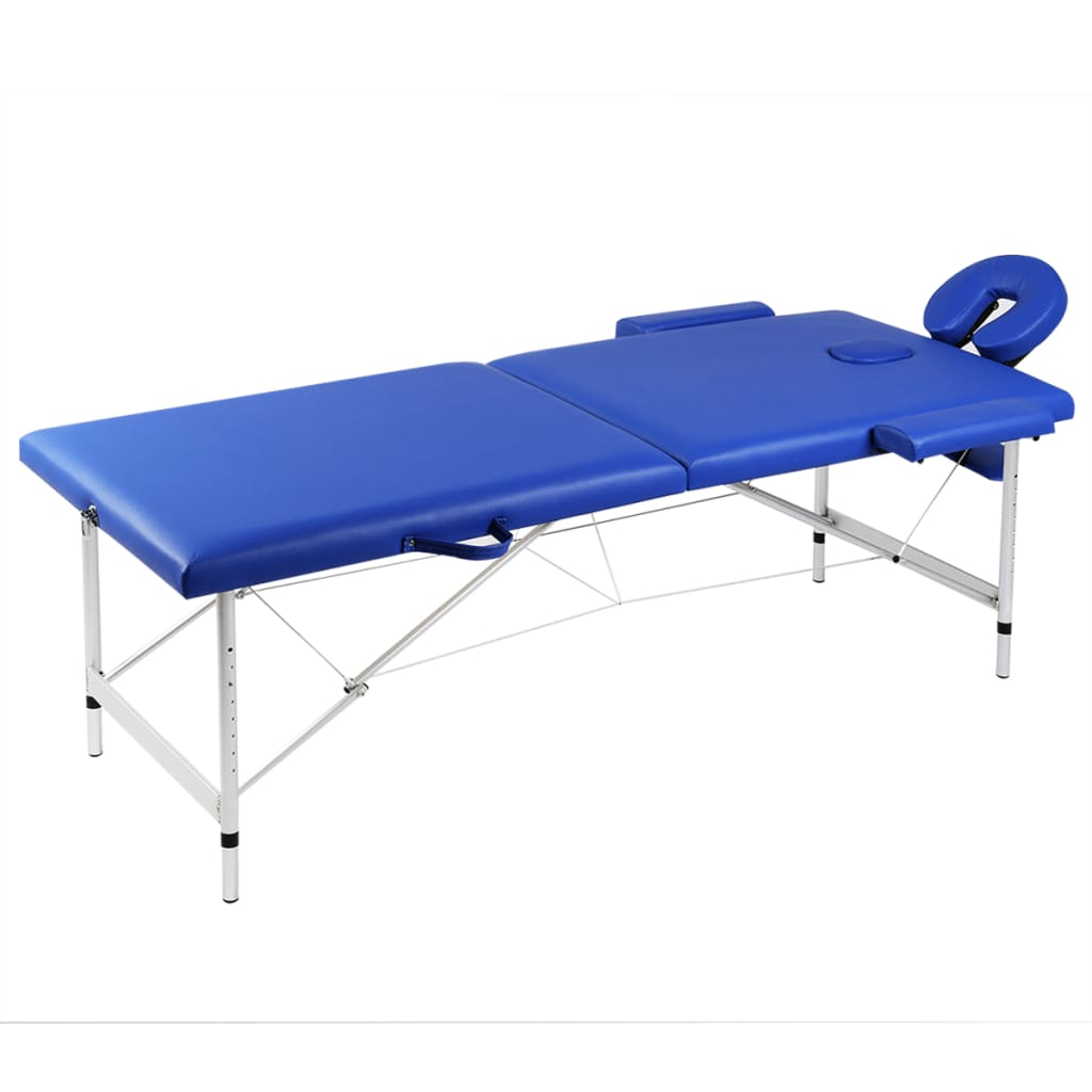 vidaXL Blue Foldable Massage Table 2 Zones with Aluminium Frame