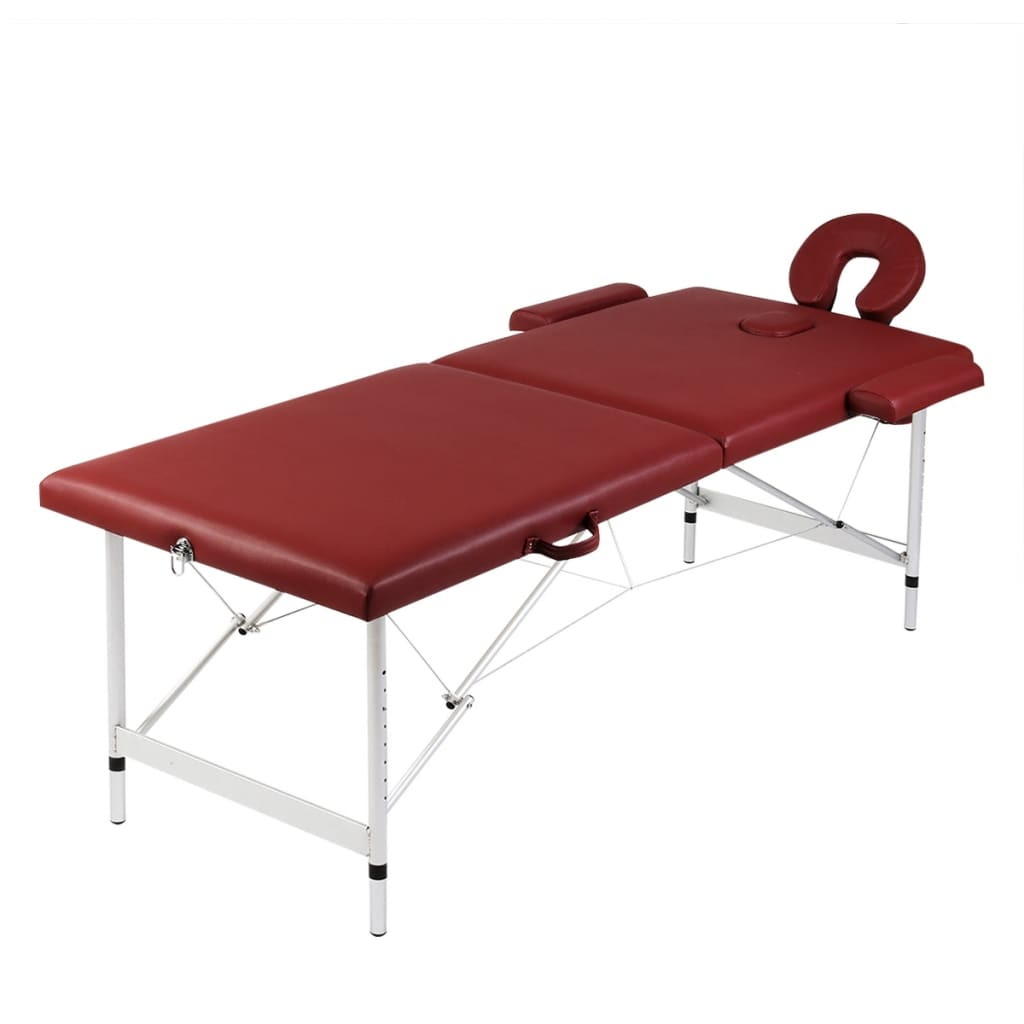 vidaXL Red Foldable Massage Table 2 Zones with Aluminium Frame