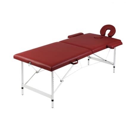 Masă de masaj pliabilă 2 părți cadru din aluminiu Roșu