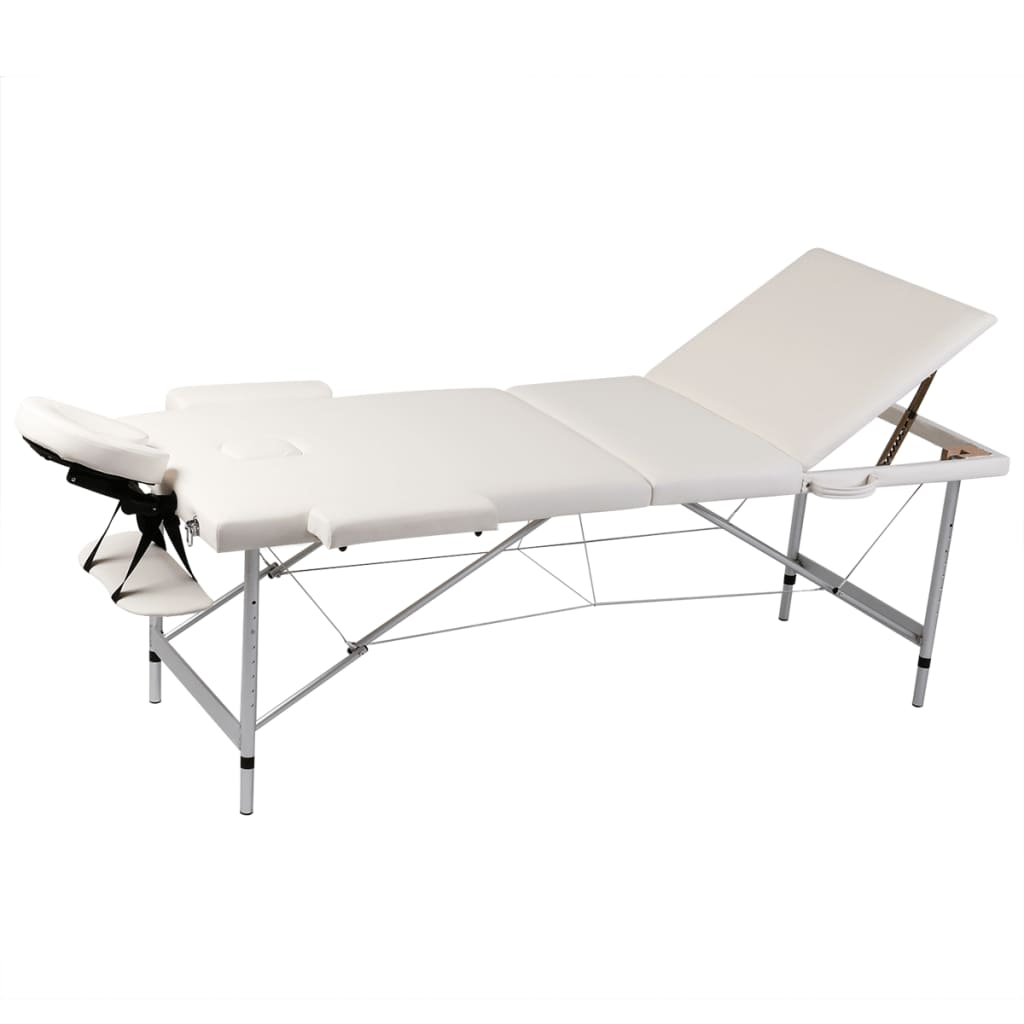vidaXL Cream White Foldable Massage Table 3 Zones with Aluminium Frame