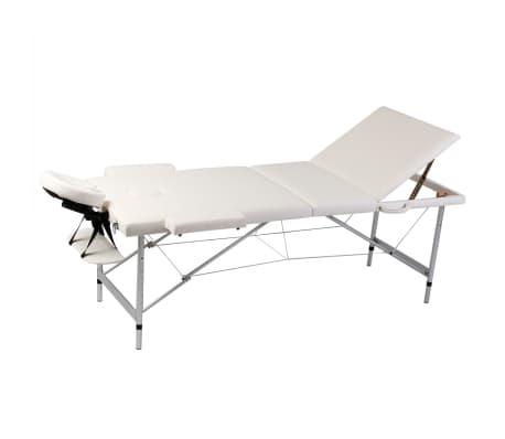 vidaXL Hopfällbar massagebänk med 3 sektioner aluminiumram gräddvit