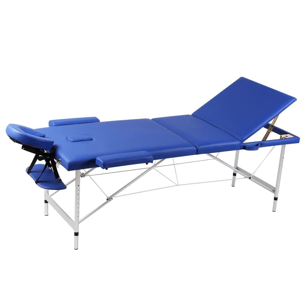 Inklapbare massagetafel 3 zones met aluminium frame (blauw)