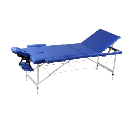 Table de Massage Pliante 3 Zones Bleu Cadre en Aluminium[1/7]
