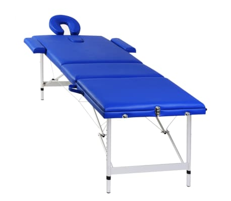 Table de Massage Pliante 3 Zones Bleu Cadre en Aluminium[3/7]