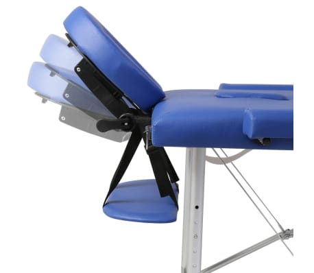 Table de Massage Pliante 3 Zones Bleu Cadre en Aluminium[5/7]