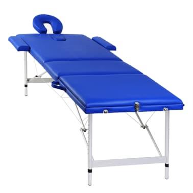 Acheter table de massage pliante 3 zones bleu cadre en - Table de massage pliante aluminium pas cher ...