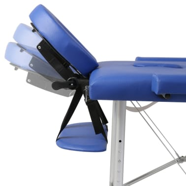 Masă de masaj pliabilă cadru din aluminiu 3 părți Albastru[5/7]