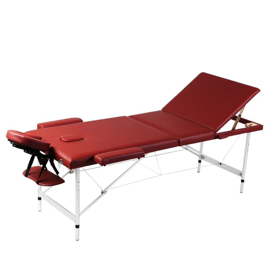 Červený skládací masážní stůl se 3 zónami a hliníkový rám