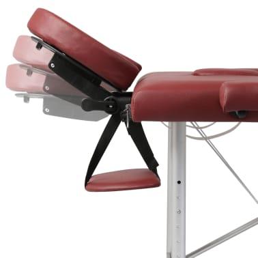 Table de Massage Pliante 3 Zones Rouge Cadre en Aluminium[6/7]