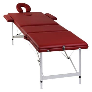 Table de Massage Pliante 3 Zones Rouge Cadre en Aluminium[7/7]