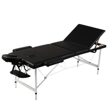 Črna zložljiva masažna miza z 3 območji in aluminjastim okvirjem[1/7]