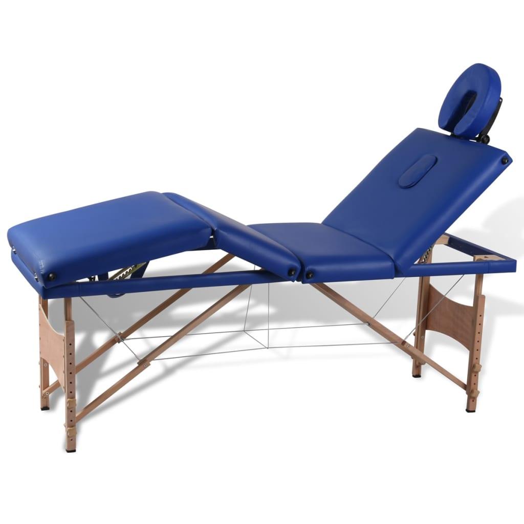 Masă pliabilă pentru masaj cu 4 secțiuni și cadru din lemn vidaxl.ro