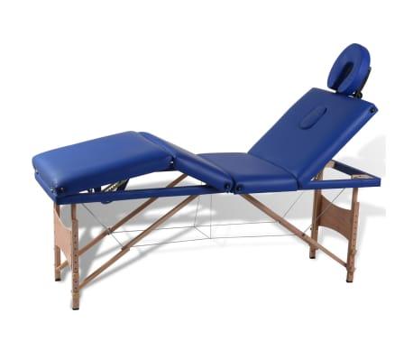 Blå hopfällbar 4-sektions massagebänk med träram
