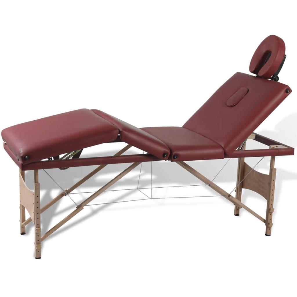 Masă de masaj roșie cu 4 zone și cadru din lemn vidaxl.ro