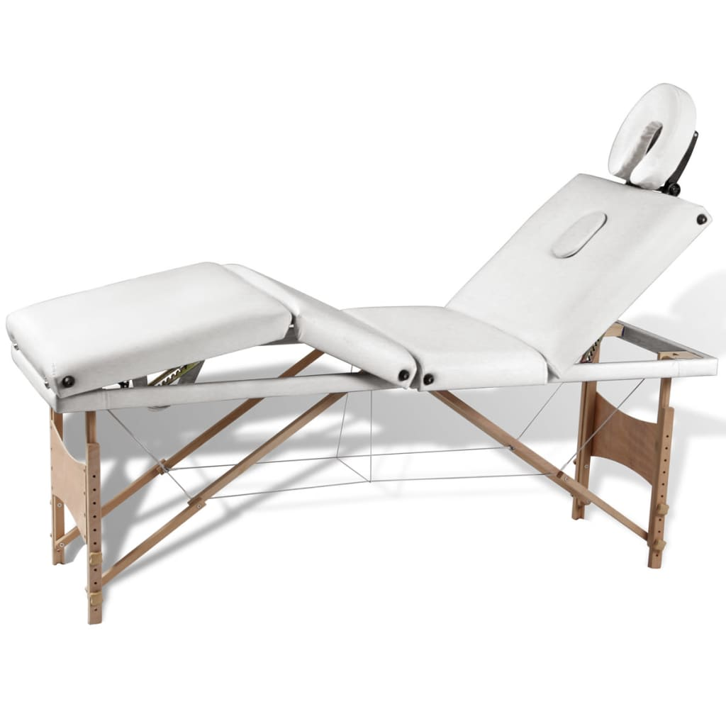 vidaXL Creme White Foldable Massage Table 4 Zones with Wooden Frame