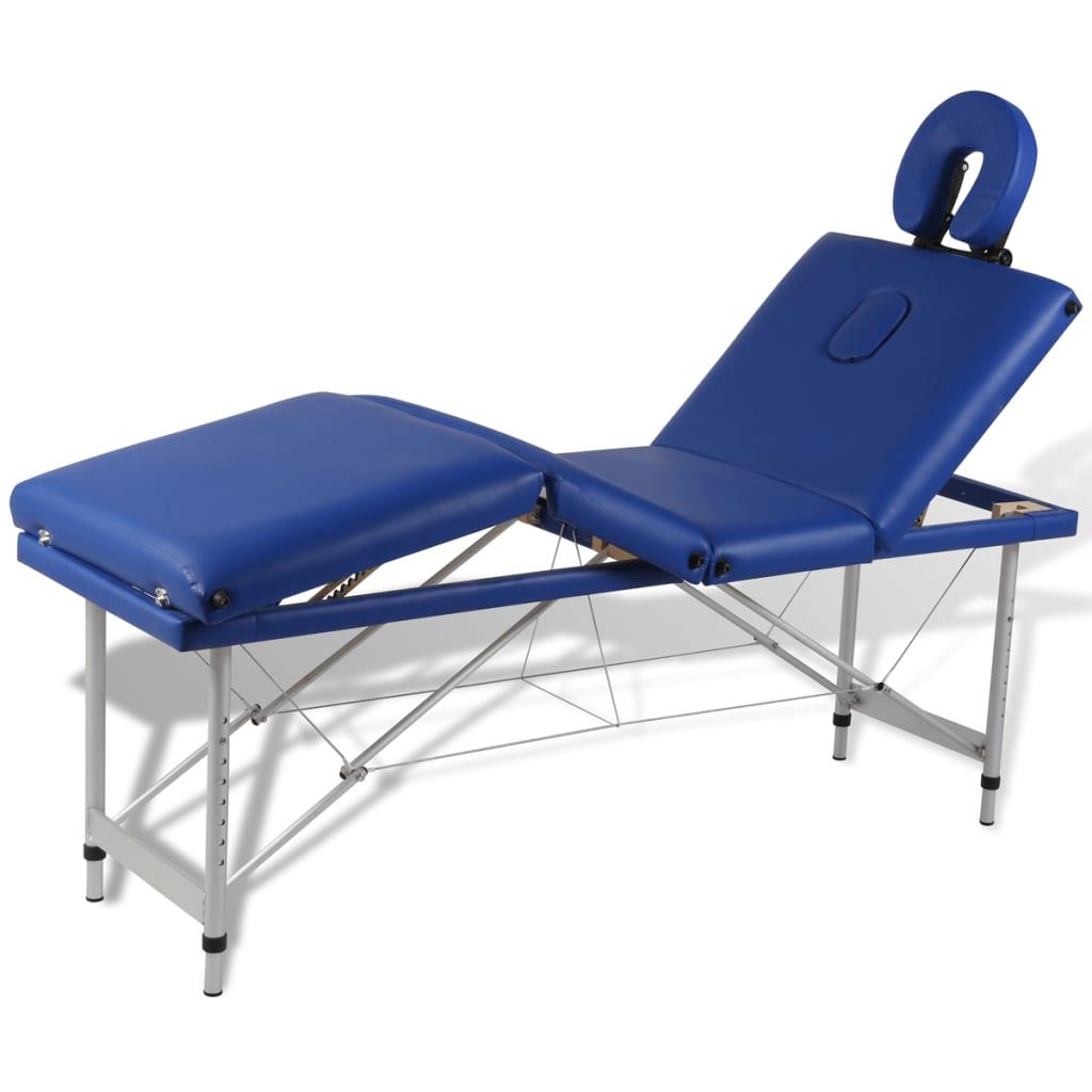 Masă de masaj pliabilă 4 părți cadru din aluminiu Albastru vidaxl.ro