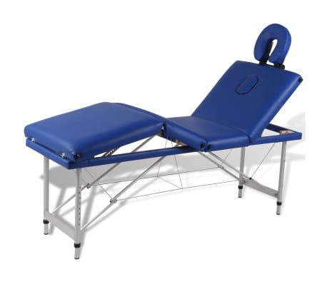 Sulankstomas Masažo Stalas su Aliuminio Rėmu, 4 zonų, Mėlynas