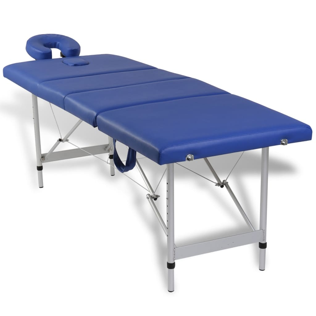 Modrý skládací masážní stůl se 4 zónami a hliníkový rám