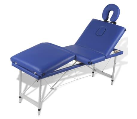 Table de Massage Pliante 4 Zones Bleu Cadre en Aluminium[4/9]