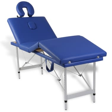 Table de Massage Pliante 4 Zones Bleu Cadre en Aluminium[8/9]