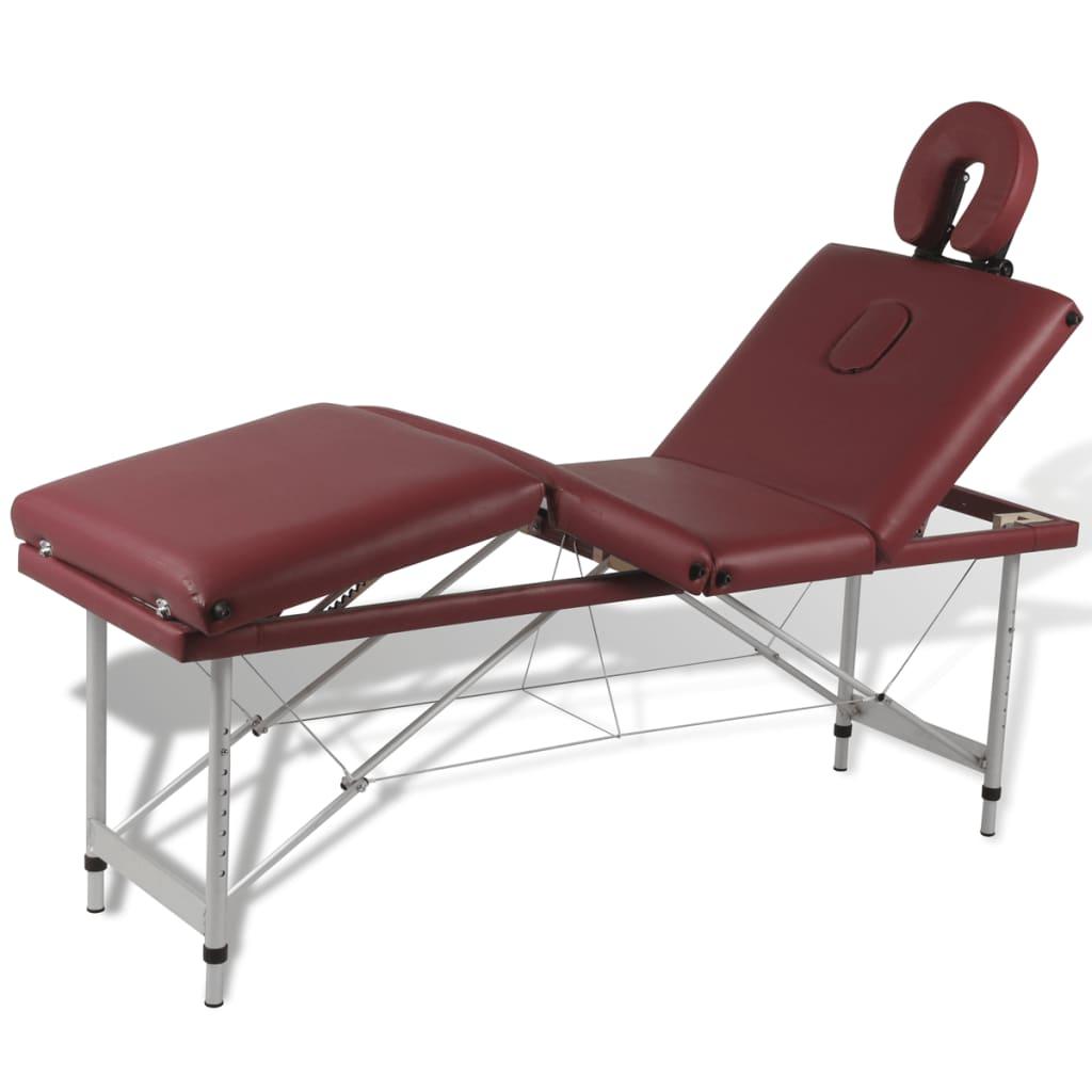 Masă de masaj pliabilă 4 părți cadru din aluminiu Roșu vidaxl.ro