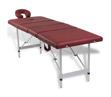 Rdeča zložljiva masažna miza s 4 območji in aluminjastim okvirjem[2/9]