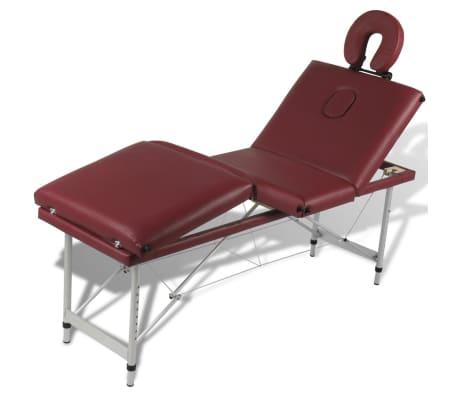 Rdeča zložljiva masažna miza s 4 območji in aluminjastim okvirjem[5/9]