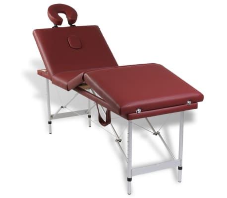 Rdeča zložljiva masažna miza s 4 območji in aluminjastim okvirjem[9/9]