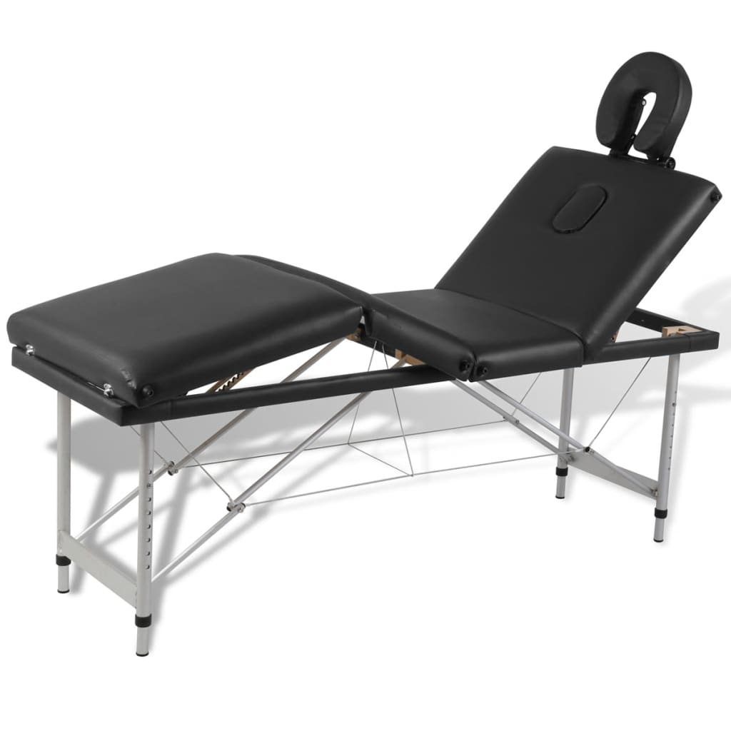 vidaXL Black Foldable Massage Table 4 Zones with Aluminium Frame