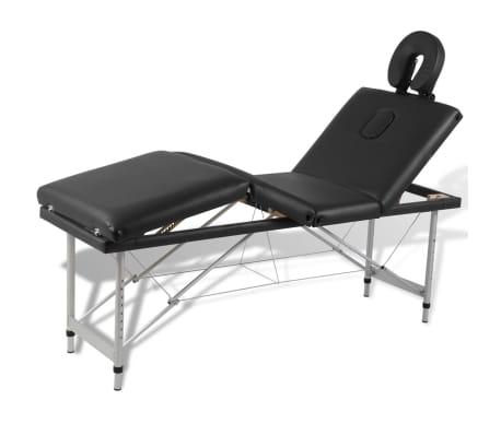 Svart hopfällbar 4-sektions massagebänk med aluminium ram