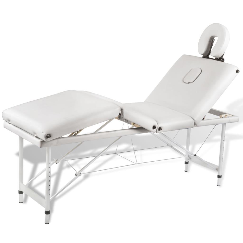 99110100 Massagetisch mit Aluminiumrahmen, faltbar 4 Zonen Creme-Weiß