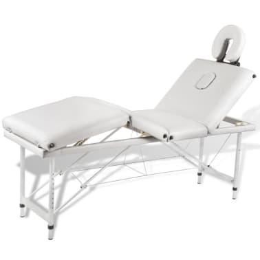 Table de Massage Pliante 4 Zones Crème Cadre en Aluminium[1/9]